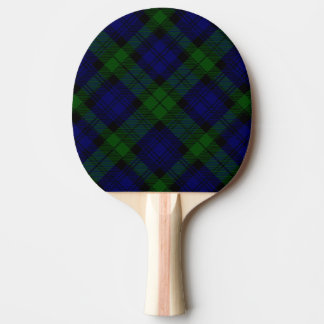 Raquette De Ping Pong Plaid noir de vert bleu de tartan de clan de