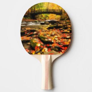 Raquette De Ping Pong Pont en bois et crique dans l'automne