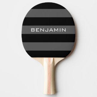 Raquette De Ping Pong Rayures noires et grises de rugby avec le nom fait