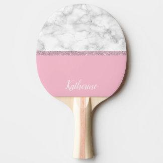 Raquette De Ping Pong Rose de marbre blanc de parties scintillantes