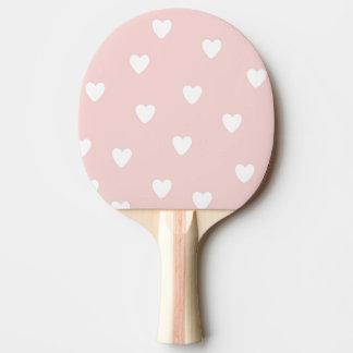 Raquette De Ping Pong Rougissent le rose avec les coeurs blancs