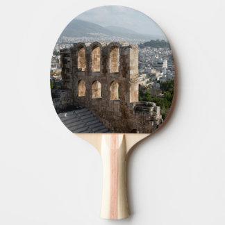 Raquette De Ping Pong Ruines antiques d'Acropole donnant sur Athènes