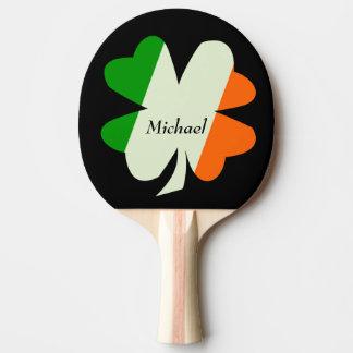 Raquette De Ping Pong Shamrock irlandais de drapeau personnalisé