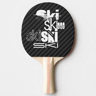 Raquette De Ping Pong Ski ; Rayures noires et gris-foncé
