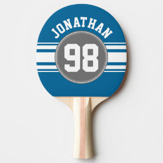 Raquette De Ping Pong Sports nombre nommé de rayures bleues et grises de