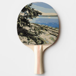 Raquette De Ping Pong Style Pacifique de bois de graveur de plage
