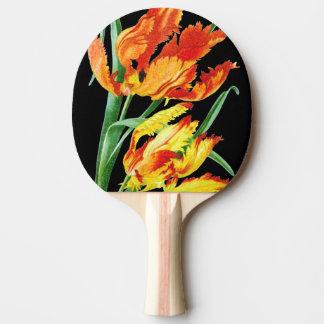 Raquette De Ping Pong Tulipes de perroquet sur le dessin noir