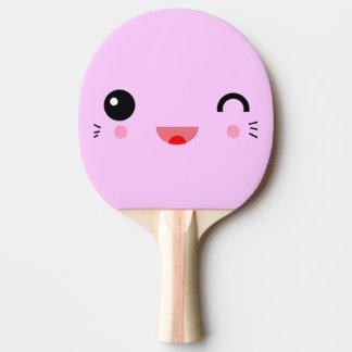 Raquette De Ping Pong visage souriant heureux de bande dessinée mignonne