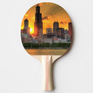 Raquette De Ping Pong Vue de l'horizon de Chicago d'Adler