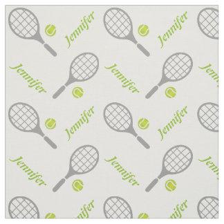 Raquette de tennis, boule et votre nom tissu