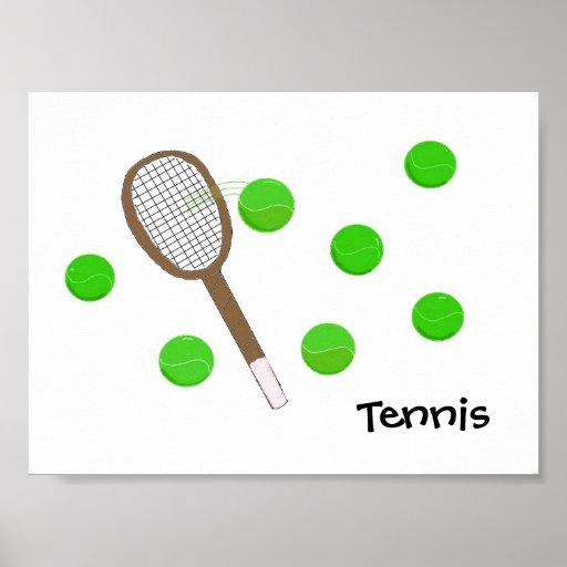 Raquette et balles de tennis de tennis affiches