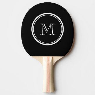 Raquette Tennis De Table À extrémité élevé noir initial de monogramme