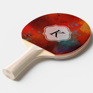 Raquette Tennis De Table Art abstrait grunge rouge de Digitals de