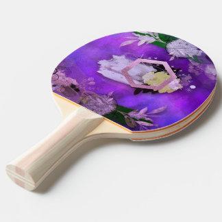 Raquette Tennis De Table beau, ultra-violet, abstrait, collage, argent, f