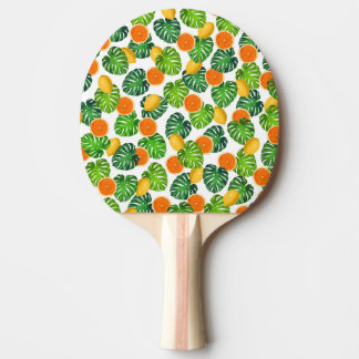 Raquette Tennis De Table blanc de monstera d'oranges de citrons