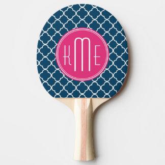 Raquette Tennis De Table Bleu marine élégant Quatrefoil avec le monogramme