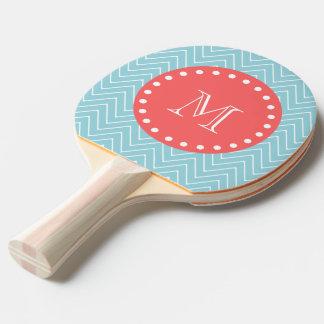 Raquette Tennis De Table Chevron bleu et de corail avec le monogramme fait