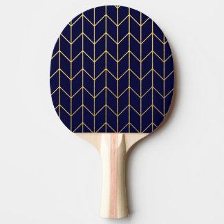 Raquette Tennis De Table Chic moderne de bleu marine de Chevron d'or jaune