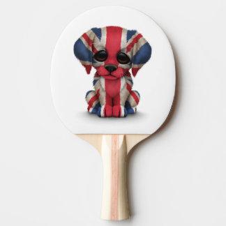 Raquette Tennis De Table Chiot britannique patriotique mignon de drapeau