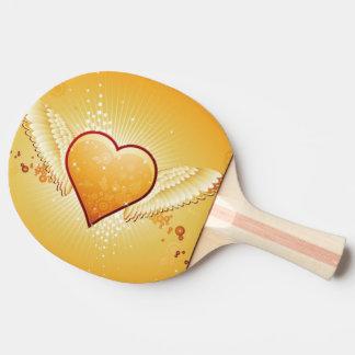 Raquette Tennis De Table coeur jaune avec des ailes