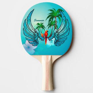 Raquette Tennis De Table Conception tropicale avec le perroquet et les