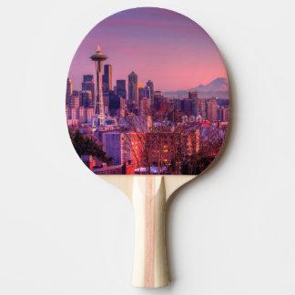 Raquette Tennis De Table Coucher du soleil derrière l'horizon de Seattle du