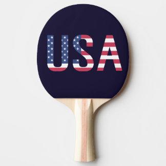 Raquette Tennis De Table Drapeau américain des textes des Etats-Unis sur le