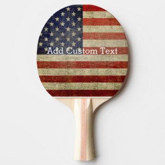 Raquette Tennis De Table Drapeau américain patiné et affligé