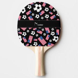 Raquette Tennis De Table Drapeau américain personnalisé du football noir