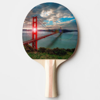 Raquette Tennis De Table Golden gate bridge avec Sun brillant