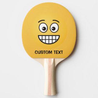 Raquette Tennis De Table Grimacerie du visage avec les yeux ouverts