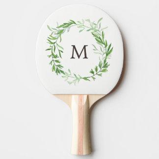 Raquette Tennis De Table Guirlande botanique verte de feuille avec le