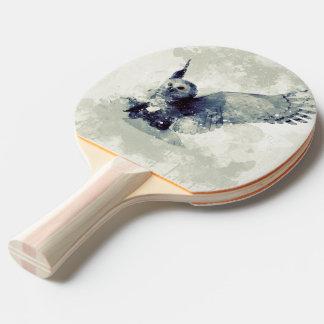 Raquette Tennis De Table Hibou merveilleux dans l'aquarelle