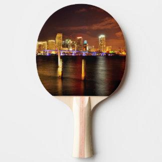 Raquette Tennis De Table Horizon de Miami la nuit, la Floride