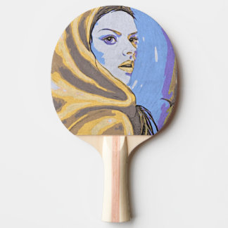 Raquette Tennis De Table Jaune de bois de graveur de Madame