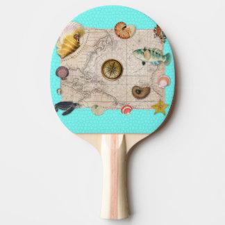 Raquette Tennis De Table La marine prise la carte vintage beige Teal