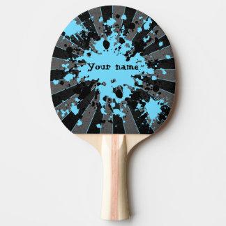 Raquette Tennis De Table La peinture bleue éclabousse noir et le gris