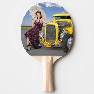 Raquette Tennis De Table Le hot rod flambe le Pin vintage de voiture de