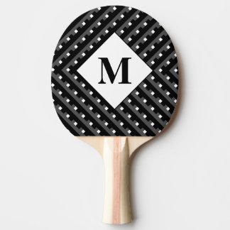 Raquette Tennis De Table Lignes à angles noires et grises de monogramme