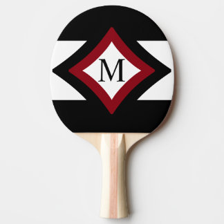 Raquette Tennis De Table Monogramme en forme de diamant élégant de noir,