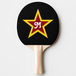 Raquette Tennis De Table Monogramme fait sur commande simple d'étoile rouge