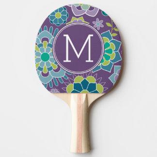 Raquette Tennis De Table Monogramme floral coloré génial de coutume de