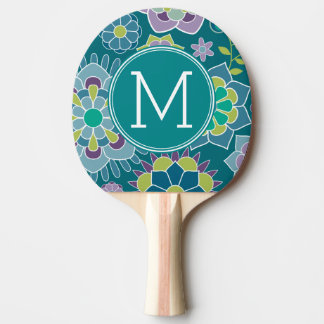 Raquette Tennis De Table Monogramme floral de coutume de motif de ressort