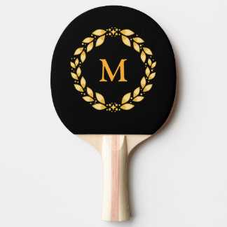 Raquette Tennis De Table Monogramme romain Leaved d'or fleuri de guirlande
