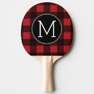 Raquette Tennis De Table Monogramme rustique de motif de plaid de Buffalo