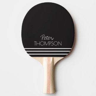 Raquette Tennis De Table monogramme simple et élégant sur le noir