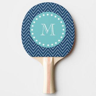 Raquette Tennis De Table Monogramme turquoise du motif | de Chevron de bleu