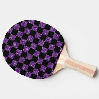 Raquette Tennis De Table Motif checkered pourpre et noir de scintillement