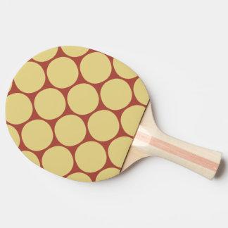 Raquette Tennis De Table Motif de point jaune et rouge élégant de polka