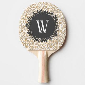 Raquette Tennis De Table Motif floral d'or avec le monogramme gris-foncé de